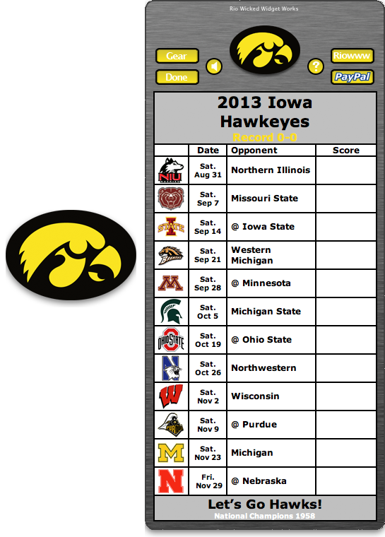 Free 2013 Iowa Hawkeye Football Schedule Widget Let's Go