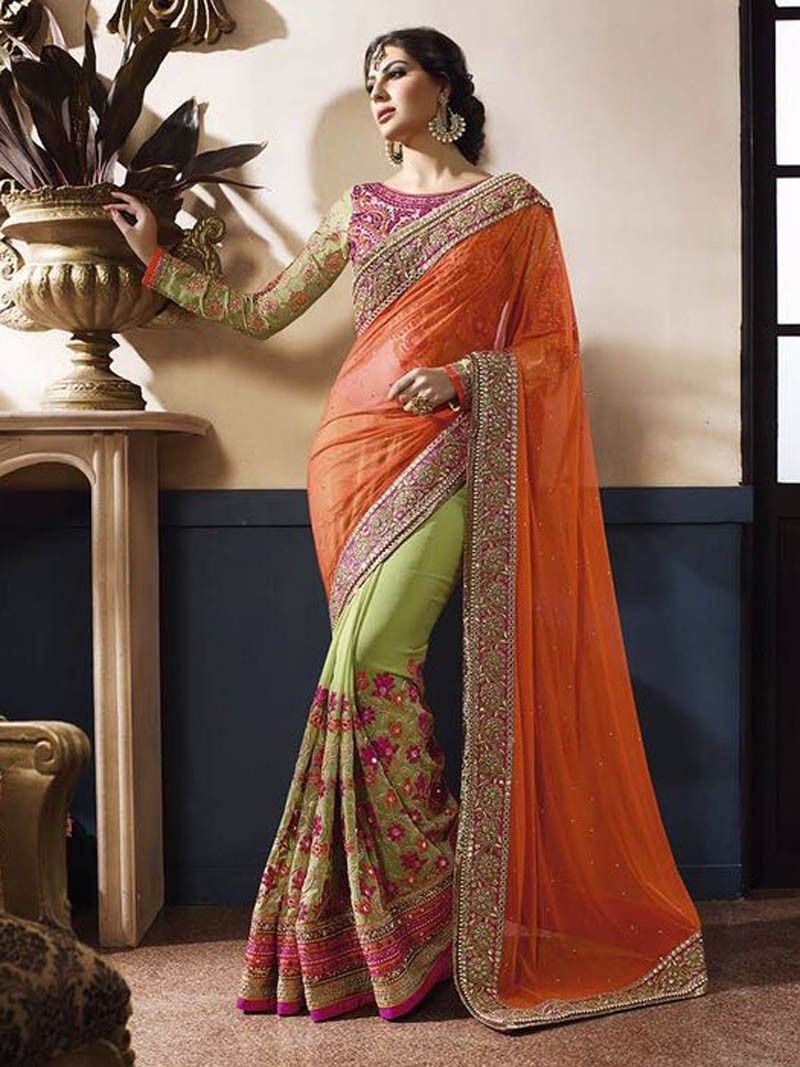 6ada014ba5c84 Sea+Green+with+Orange+Heavy+Embroidery+Work+Designer+Saree