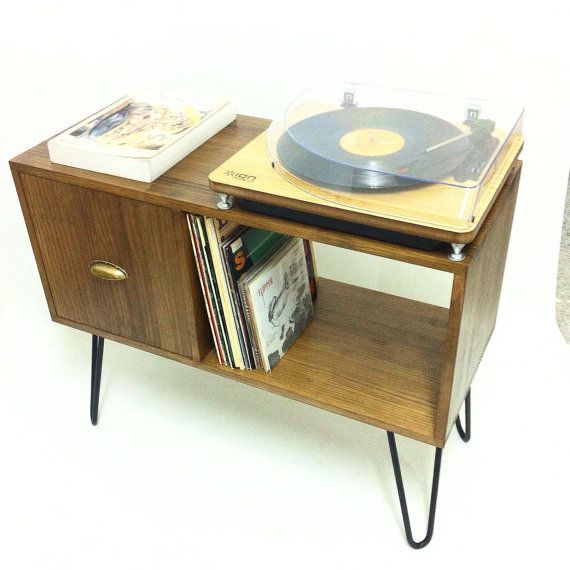 Vinyl Record Storage Console Table Mid Century Modern Table Mid
