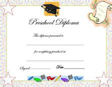 Free Printables Preschool Diploma Graduation Invitations
