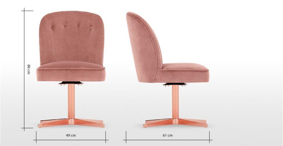 Margot Chaise De Bureau Velours Rose Poudre Et Cuivre Pink Office Chair Pink Velvet Office Chair