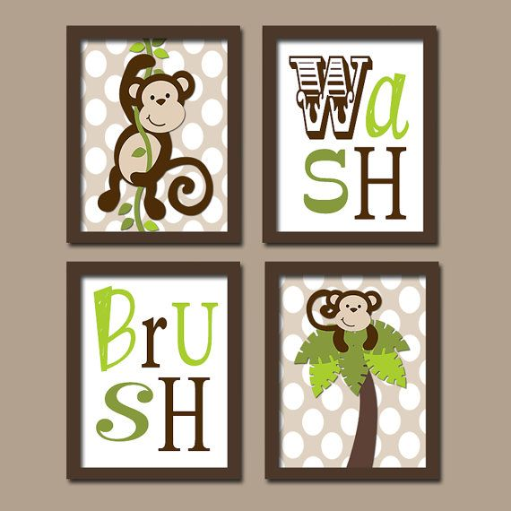 Beau MONKEY Bathroom Wall Art, Boy Bathroom Artwork, Brothers Bathroom Rules,  Set Of 4, Wash Brush, Polka Dot Bath Decor, Canvas Or Prints,Shared |  Bathroom Wall ...
