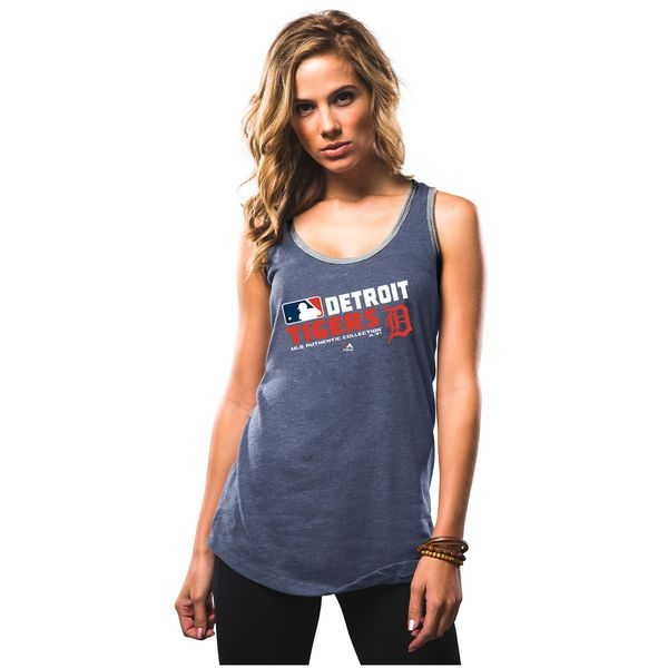 Detroit Tigers Majestic Women's Authentic Collection Team Choice Tank Top - Navy - $24.99