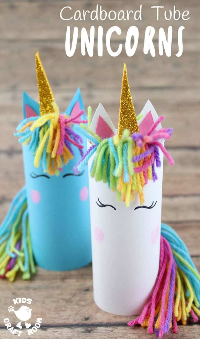 Who can resist unicorns? Don't they capture all things childhood and magical? Here's the most adorable Cardboard Tube Unicorn Craft kids will fall in love with. They're easy to make and their fingerprint rosy cheeks add a lovely personal touch! They're sure to spark lots of imaginative play and story telling. #unicorn #unicorns #unicorncrafts #kidscrafts #cardboardtubes #tprolls #papertubes #craftsforkids #recycledcrafts #preschoolcrafts #kidscraftideas #kidscraftroom