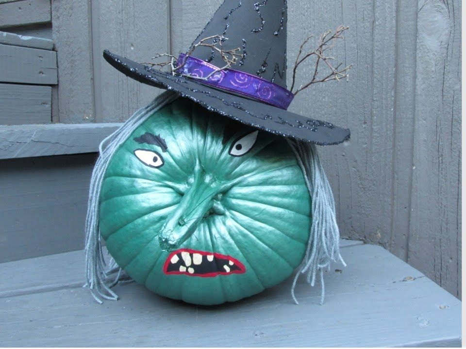 wicked witch painted pumpkin halloween craft youtube - Youtube Halloween Crafts