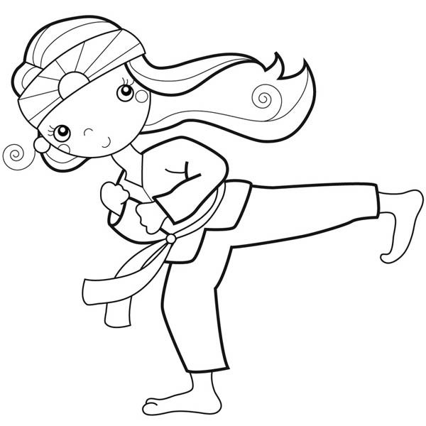 karate kid doing palm heel kick coloring page