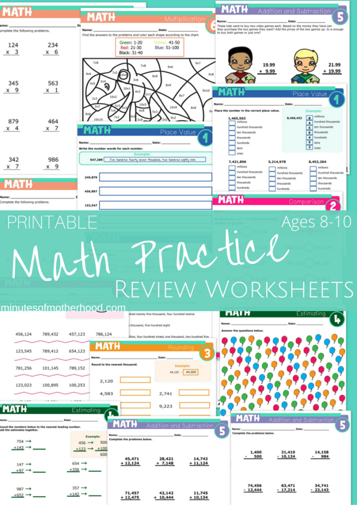 Math Practice 15 Pages Ages 8-10 with Addition, Subtraction ...