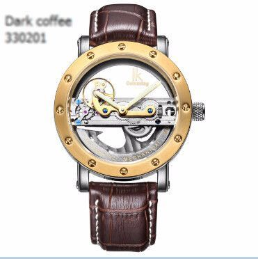 IK Colouring Stainless Steel Hollow Skeleton Watch 6 Styles