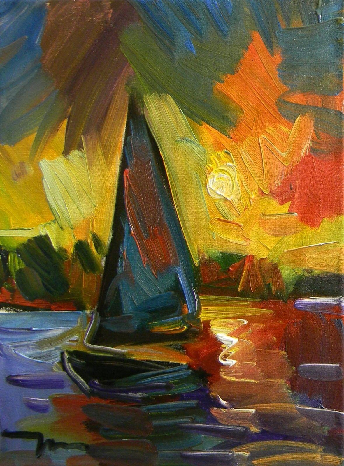 Jose trujillo oil painting sailboat sun sunset nautical wall art ...