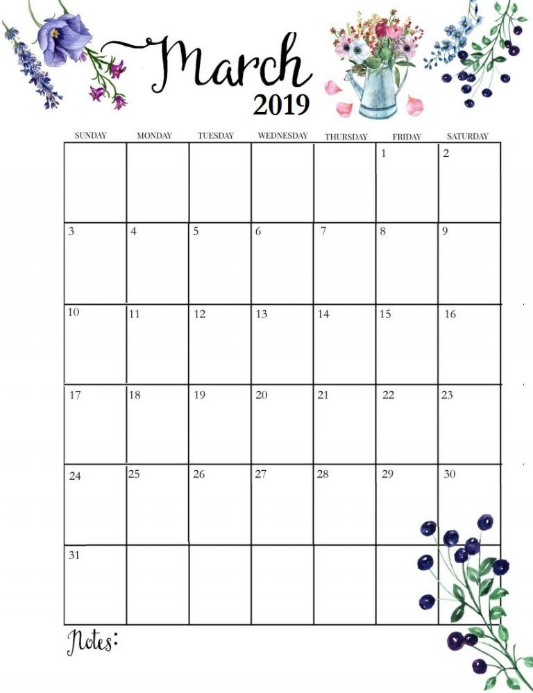 Cute 2019 Monthly Calendar March Calendar Printable Editable