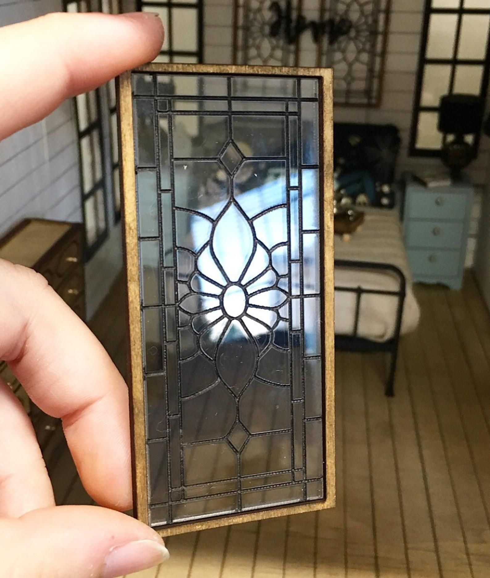 Miniature Dollhouse 1 12 Scale Stained Glass Window Panels Stained Glass Window Panel Stained Glass Windows Miniatures