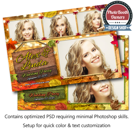 An elegant, yet playful Autumn-themed photo booth template designed for any autumn-themed event. Colorful leaves fill this background and light floating leaves in the foreground accent this template with movement and depth. Each element is completely color-customizable to complement any event. This template is a postcard layout featuring 4 photos in a 3×1 photo arrangement.