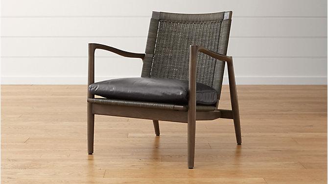 Sebago Midcentury Rattan Chair with Fabric Cushion Mid