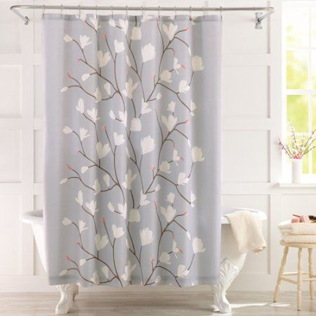 Seafoam Green and Brown Newcastle Fabric Shower Curtain