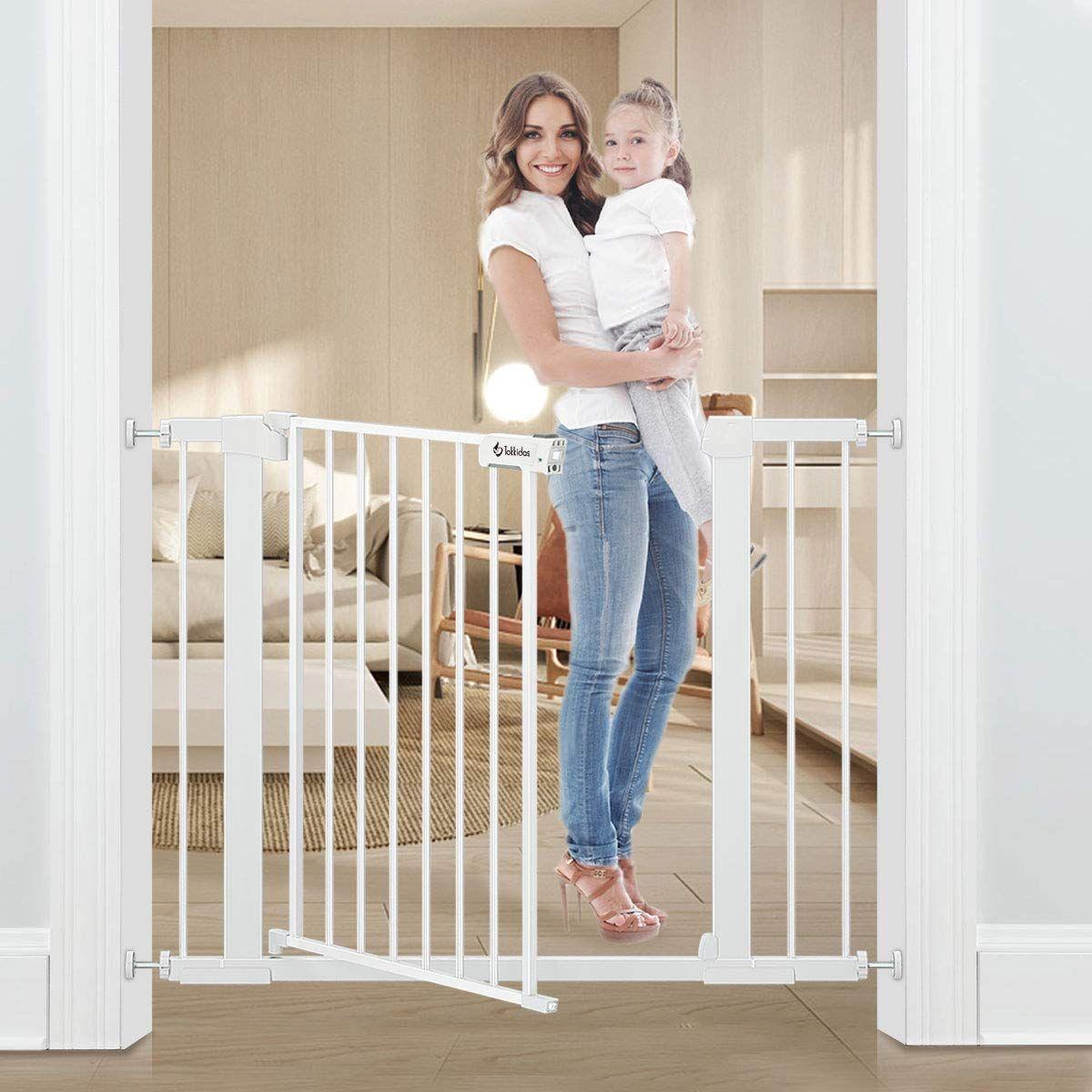 Tokkidas Auto Close Safety Baby Gate 35 37 8 Easy Walk Thru Child Gate For Doorways Stairs Includes 2 75 And 5 5 Extension Baby Gate Kids Gate Safety Gate