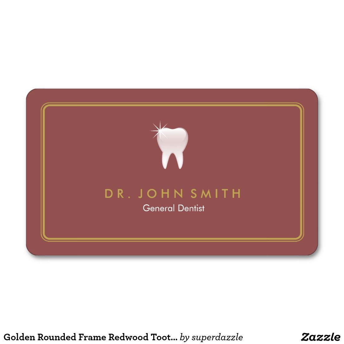 Golden Rounded Frame Redwood Tooth Dental Appointment Card Dental