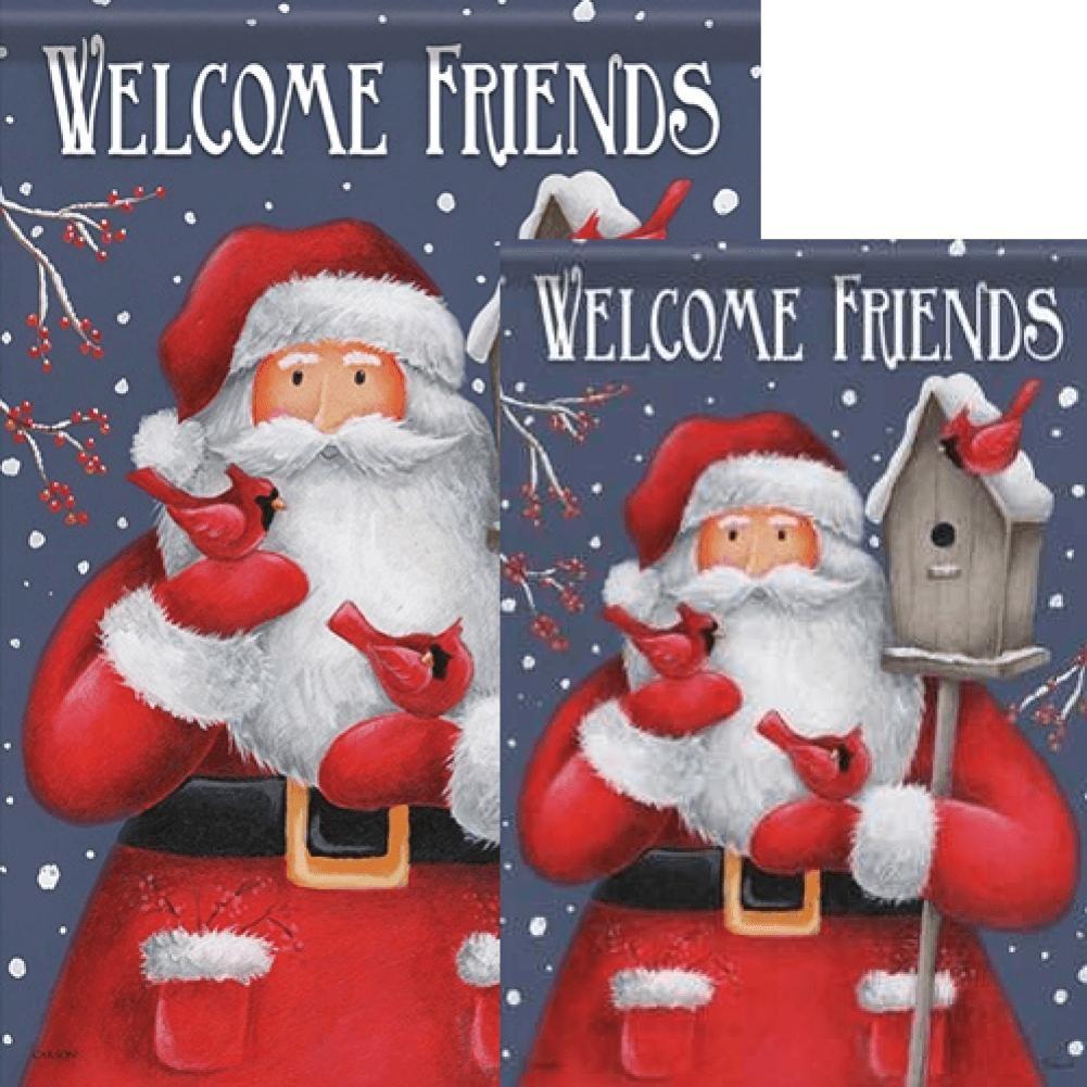 Carson Santa & Birdhouse Welcome Friends Flags Set (2 Pieces)
