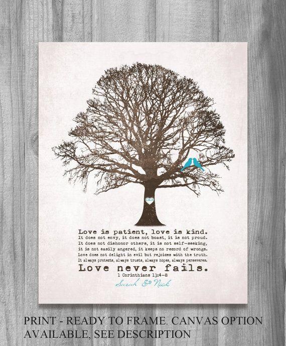 457e00859a9 Personalized WEDDING GIFT Love Never Fails Birds Tree Art Print Anniversary  1 Corinthians 13 4 8 Home Decor Housewarming Custom Brown Teal