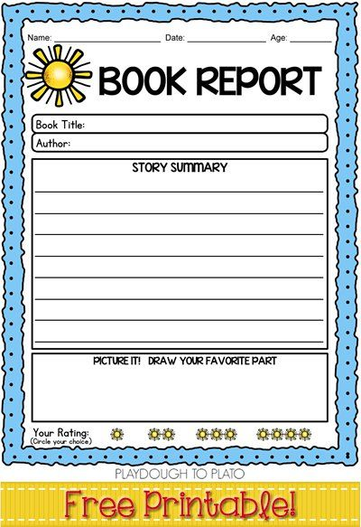 Free Book Report Template Easy Way To Build Kids Reading