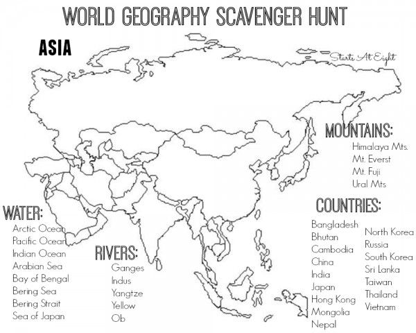 world geography scavenger hunt asia free printable school geography classroom world. Black Bedroom Furniture Sets. Home Design Ideas