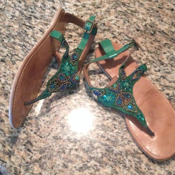 Green beaded sandals Green blue gold. Great condition. Worn once! Coconuts Shoes Sandals