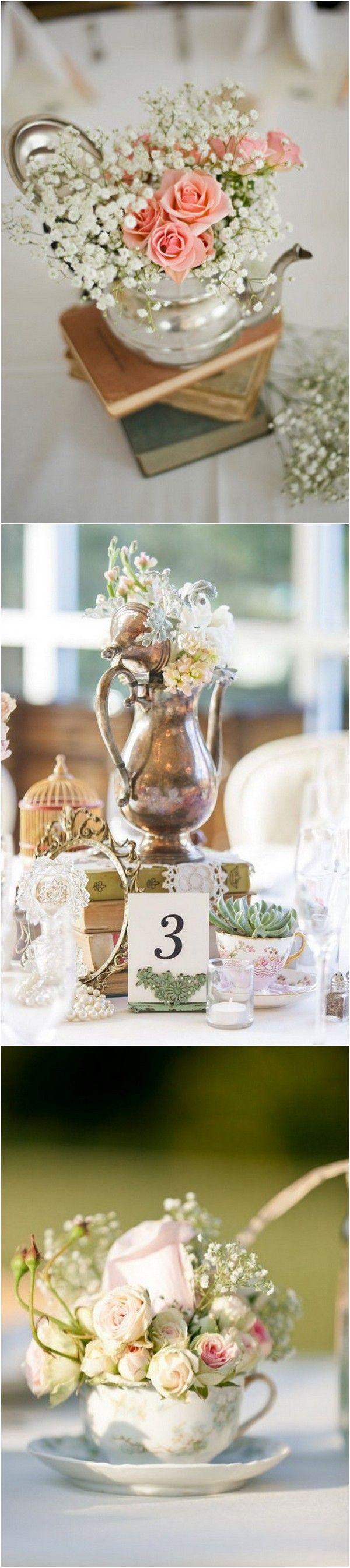 50 fabulous vintage wedding centerpiece decoration ideas vintage teacups vintage wedding centerpiece ideas junglespirit Gallery