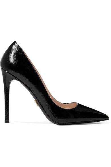 6cf240e3a34 Heel measures approximately 110mm  4.5 inches Black glossed textured-leather  Slip on Made in Italy