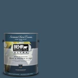 BEHR Premium Plus Ultra 1 Gal. Home Decorators Collection Nocturne Blue  Satin Enamel Interior