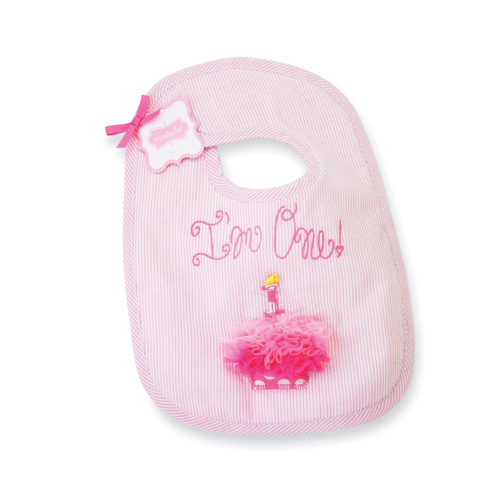 """First Birthday Bib for Girls Cute birthday bib for your princess to wear while stuffing her face with cake. Embroidered with """"I'm One!"""" and accented with an applique cupcake!"""