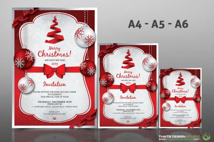 Christmas Invitation Template V4 By Thats Design Studio The - christmas invitation template