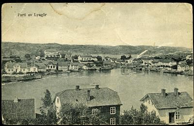 Aust-Agder fylke Tvedestrand kommune LYNGØR. Fin oversikt med hus på flere øyer  Utg A.O.Holm stemplet 1920