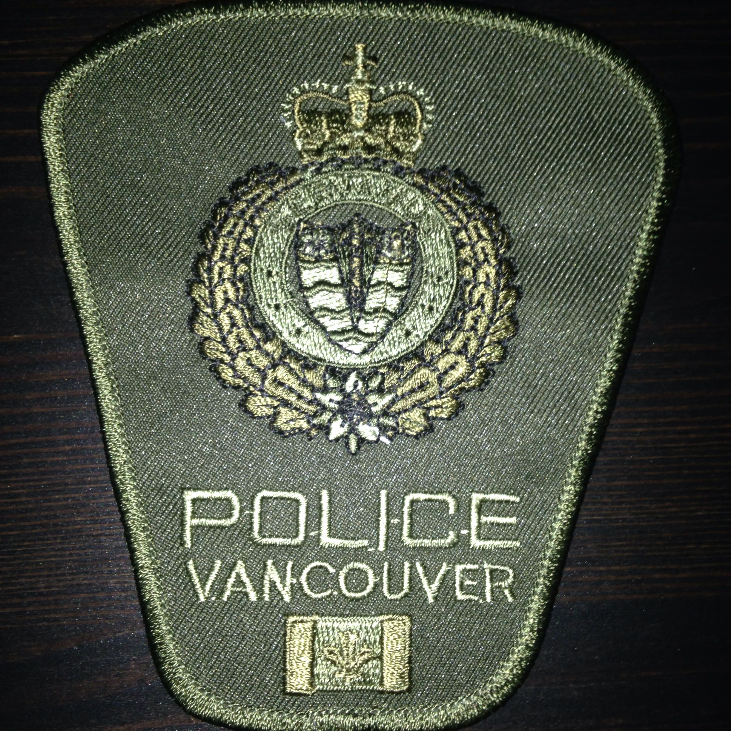 Vancouver Police, Tactical green subdued Police patches