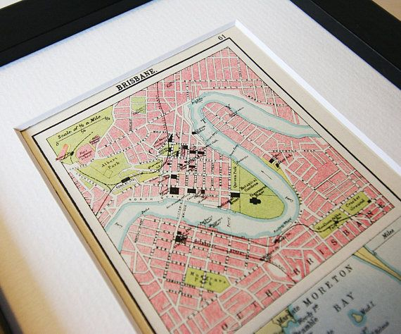 Framed Brisbane Vintage City Map Antique Travel Maps Vintage 1900s ...