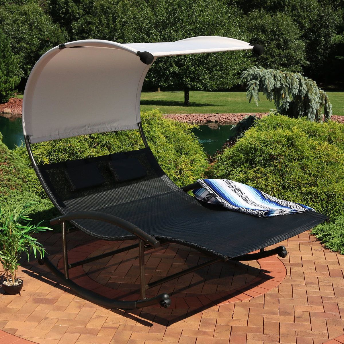 Sunnydaze Double Chaise Rocking Lounge Chair With Canopy And