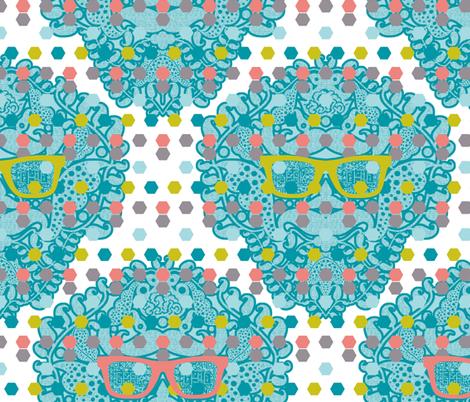 damask geek white fabric by katarina on Spoonflower - custom fabric