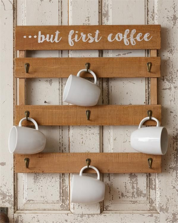 New Rustic Farmhouse Chic But First Coffee Wood Slat Cup Hook Wall Rack Yhd Country Coffee Mug Wall Rack Mug Wall Rack Wall Racks
