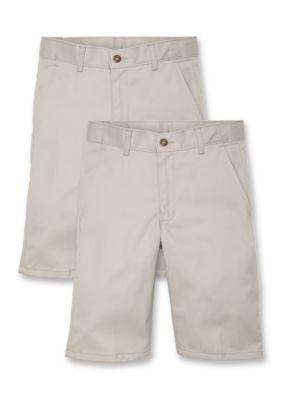 IZOD  Uniform 2-Pack Bundle Flat Front Shorts Boys 8-20