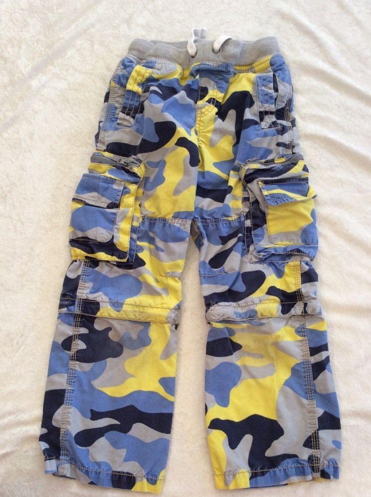 2d6c1bcec Mini Boden 9Y Zip Off Cargo Pants Blue Yellow Camo Soft Waist Drawstring  PLAY #MiniBoden #CargoCombat