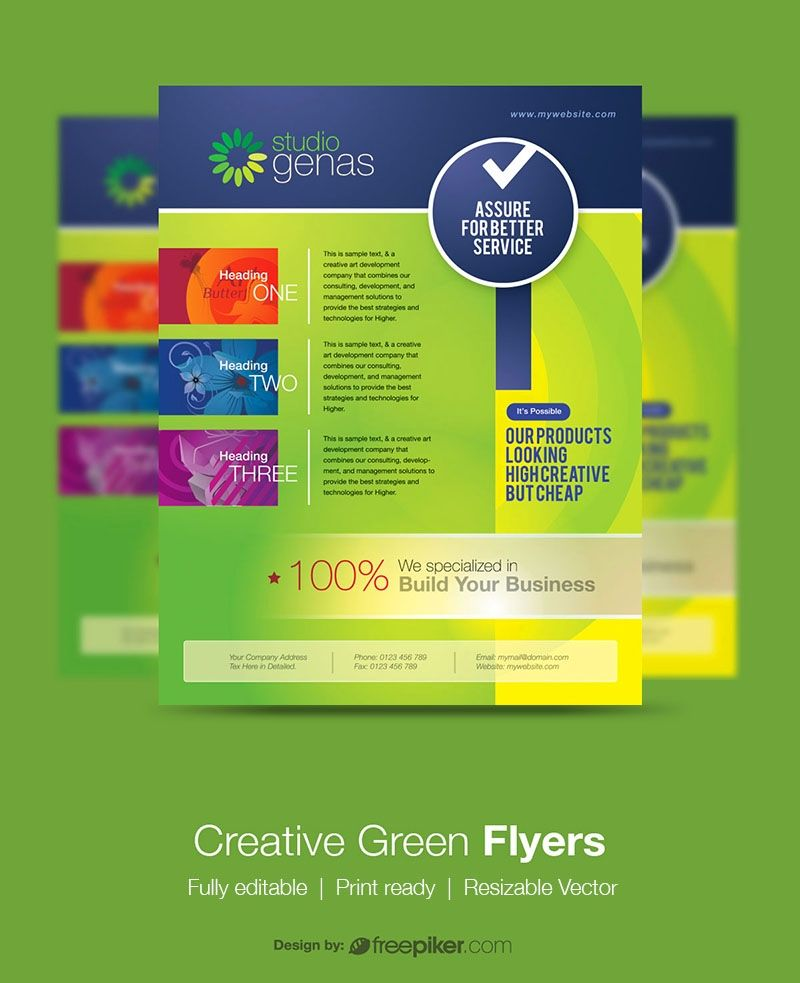 Creative green flyer with images flyer flyer printing