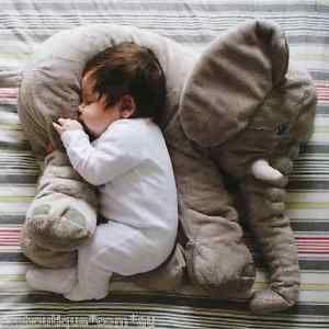 Ikea Jattestor Soft Toy Elephant Hugging Grey Pillow