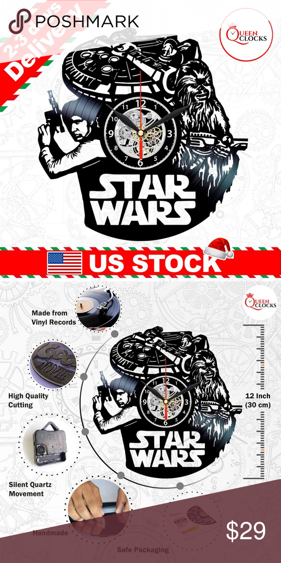 Han Solo Chewbacca Vinyl Clock Star Wars Wall Gift Han Solo And Chewbacca Print Stickers Star Wars Art