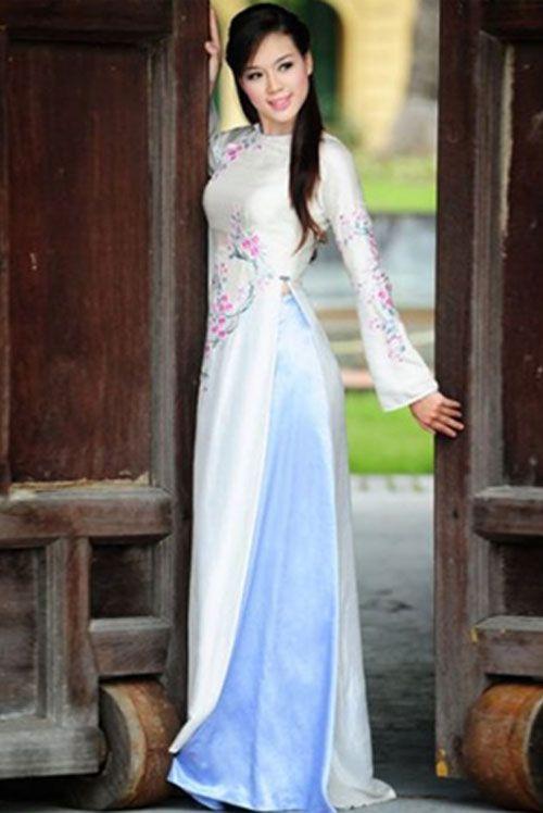 white modern ao dai mw229 vietnamese long dress