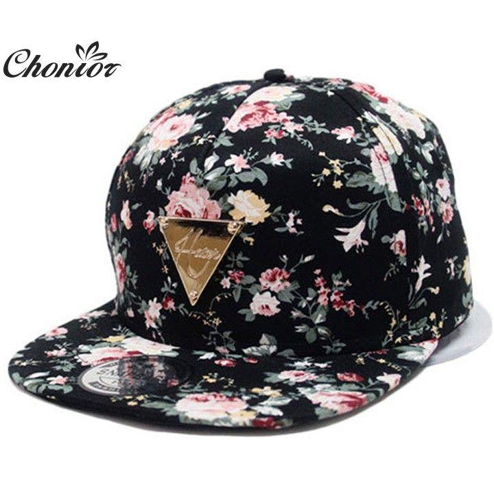 Cool 2016 Nouveau Mode Floral Réglable Casquette Snapback Caps Femmes Hip  Hop Chapeau de Soleil Casquette de baseball 920b49507ed1