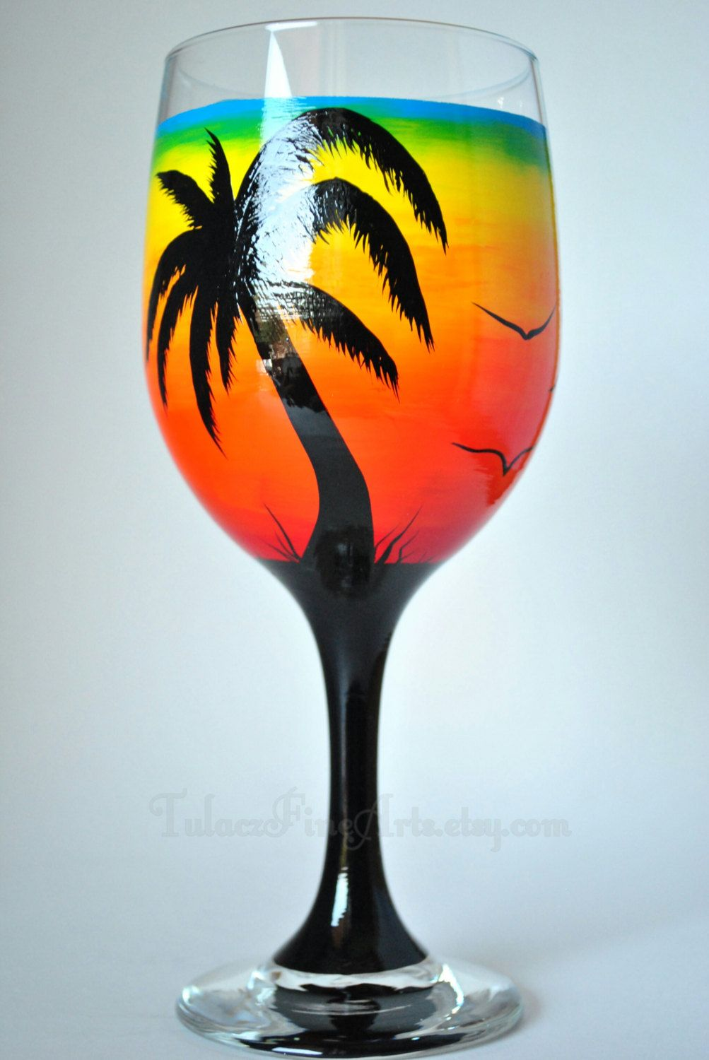 Hand Painted Palm Tree Sunset Wine Glasses By Tulaczfinearts Hand Painted Wine Glass Palm Tree Sunset Painted Wine Glass