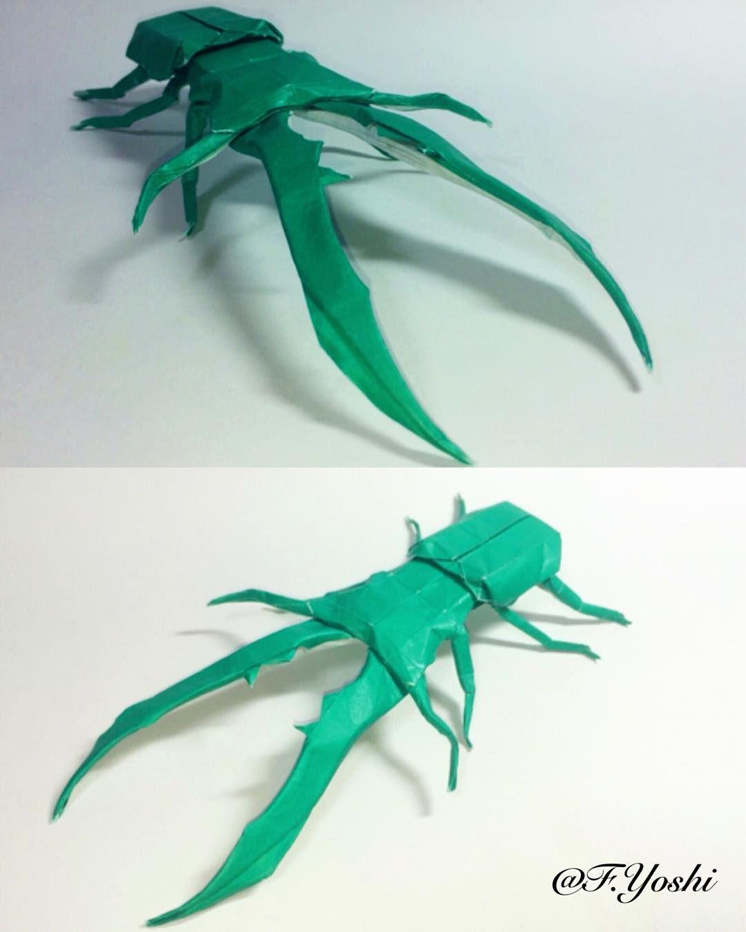 Titlecyclommatus Metallifer Design Video Diagram Origami Quotswan Quyetquot Designsatoshi Kamiya 40x40cm Paper Papercraft Insect