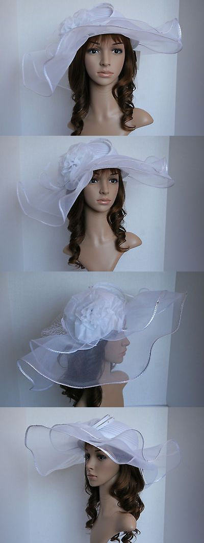 Womens Formal Hats 131476  New Church Kentucky Derby Wedding Poly Braid  Wide Brim W Flower 58c0b1ef1ccf
