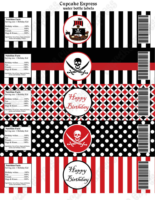 Pirate Happy Birthday Banner Pirate Theme Polka Dots Striped Printed Pirate