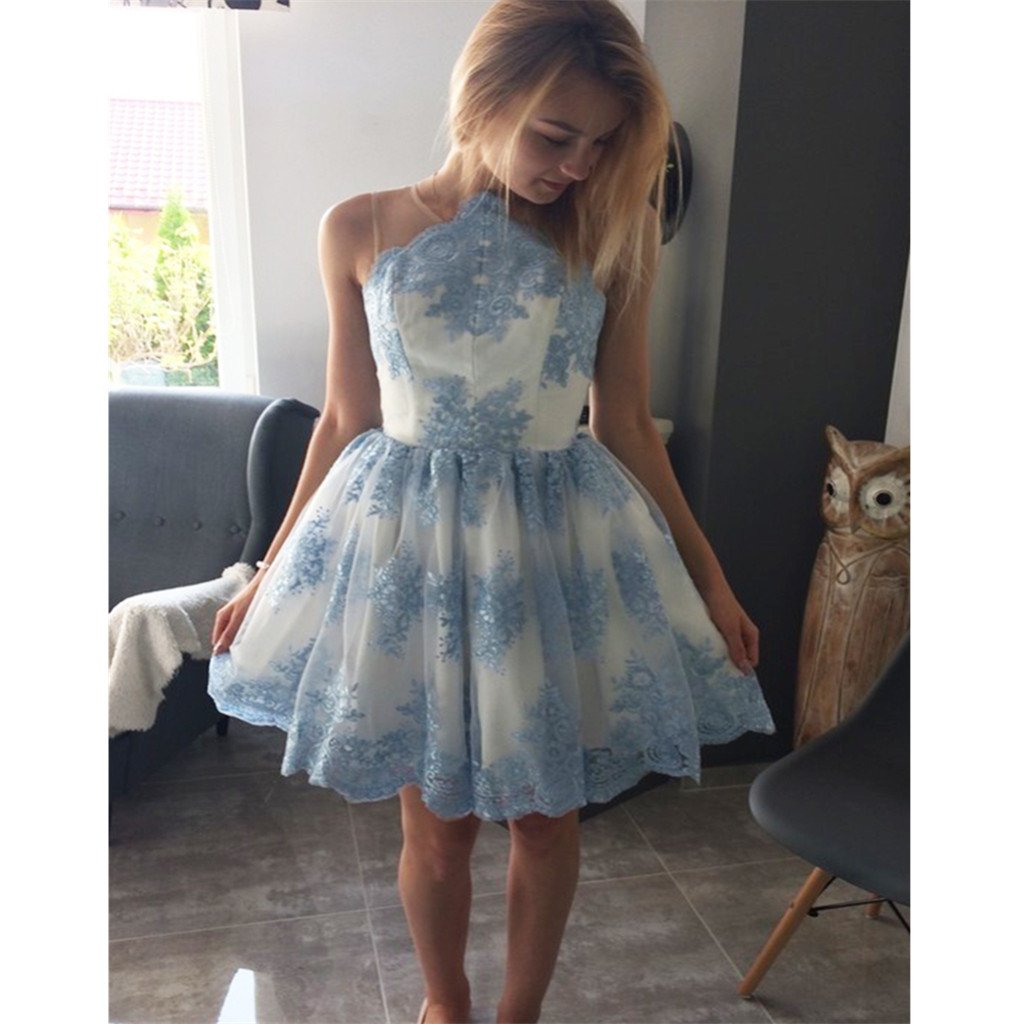 Aline popular blue lace appliques short tulle homecoming dresses