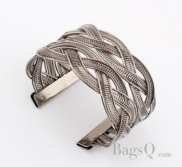 Delicate Bronze Woven Pattern Lady's Alloy Bracelet