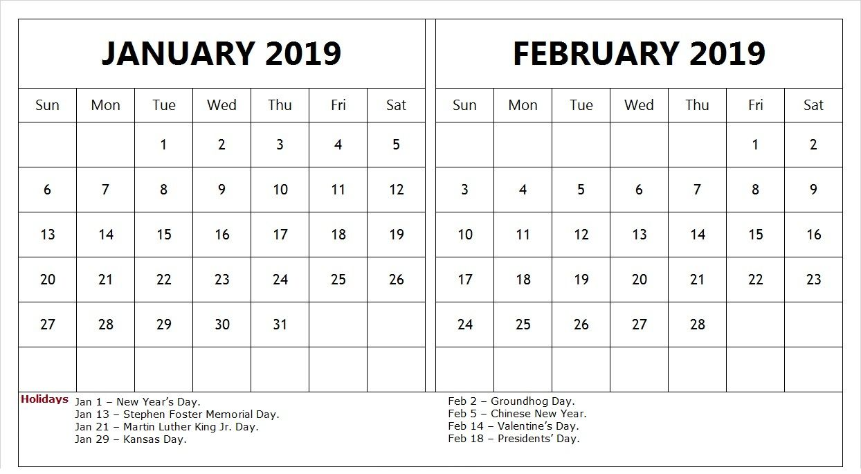 Calendar For January And February 2019 January February 2019 Calendar With Holidays #TemplatePrintable